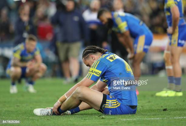 Brad Takairangi of the Eels dejected after Parramatta's loss during the NRL Semi Final match between the Parramatta Eels and the North Queensland...