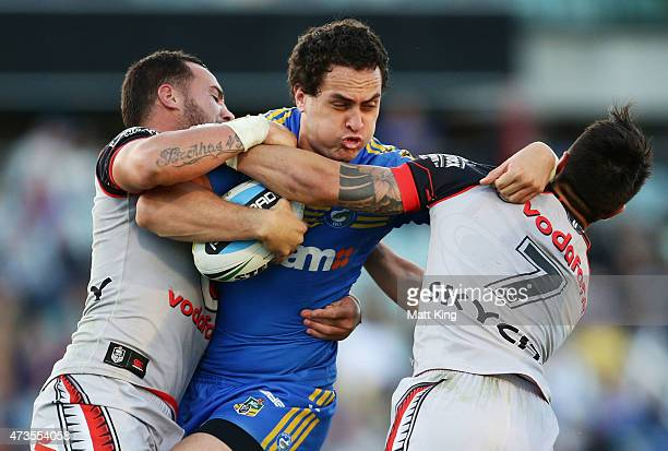Brad Takairangi of the Eels is tackled during the round 10 NRL match between the Parramatta Eels and the New Zealand Warriors at Pirtek Stadium on...