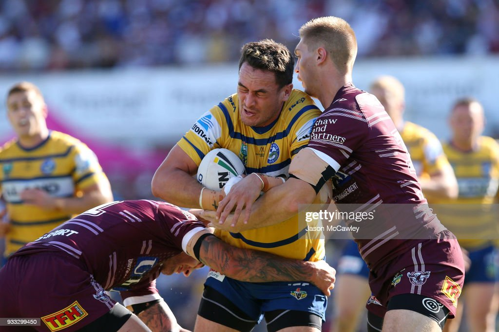 Brad Takairangi of the Eels is tackled during the round two NRL match between the Manly Sea Eagles and the Parramatta Eels at Lottoland on March 18, 2018 in Sydney, Australia.