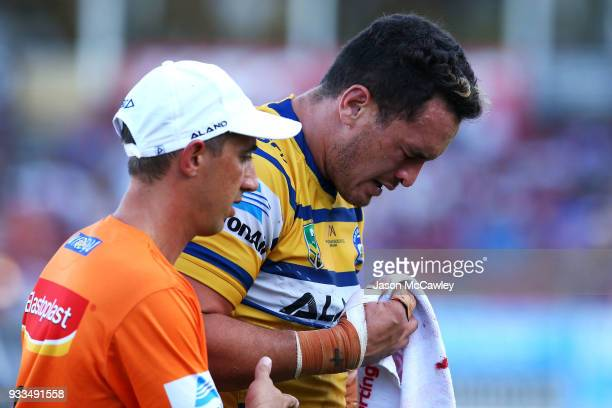 Brad Takairangi of the Eels leaves the field injured during the round two NRL match between the Manly Sea Eagles and the Parramatta Eels at Lottoland...