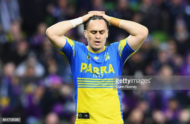 Brad Takairangi of the Eels looks dejected after losing the NRL Qualifying Final match between the Melbourne Storm and the Parramatta Eels at AAMI...