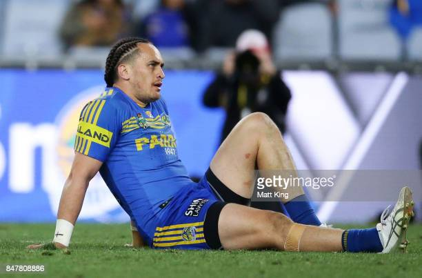 Brad Takairangi of the Eels looks dejected at fulltime during the NRL Semi Final match between the Parramatta Eels and the North Queensland Cowboys...