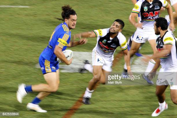 Brad Takairangi of the Eels makes a break during the NRL Trial match between the Penrith Panthers and Parramatta Eels at Pepper Stadium on February...