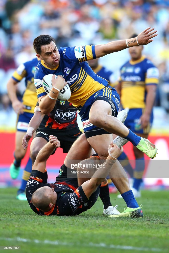 Brad Takairangi of the Eels makes a break during the round Eight NRL match between the Parramatta Eels and the Wests Tigers at ANZ Stadium on April 29, 2018 in Sydney, Australia.