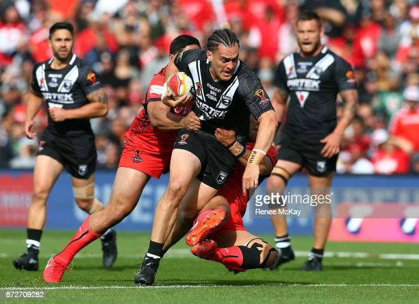 Brad Takairangi of the Kiwis during the 2017 Rugby League World Cup match between the New Zealand Kiwis and Tonga at Waikato Stadium on November 11...