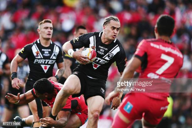 Brad Takairangi of the Kiwis on the charge during the 2017 Rugby League World Cup match between the New Zealand Kiwis and Tonga at Waikato Stadium on...