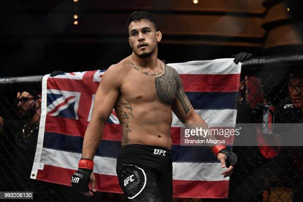 Brad Tavares enters the Octagon before facing Israel Adesanya in their middleweight bout during The Ultimate Fighter Finale event inside The Pearl...