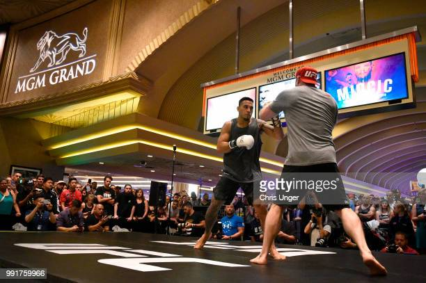 Brad Tavares holds an open training session for fans and media during the UFC 226 and The Ultimate Fighter Finale Open Workouts at MGM Grand Hotel &...