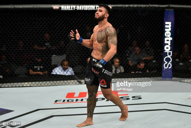 Brad Tavares reacts after the conclusion of his middleweight bout against Thales Leites during the UFC 216 event inside T-Mobile Arena on October 7,...