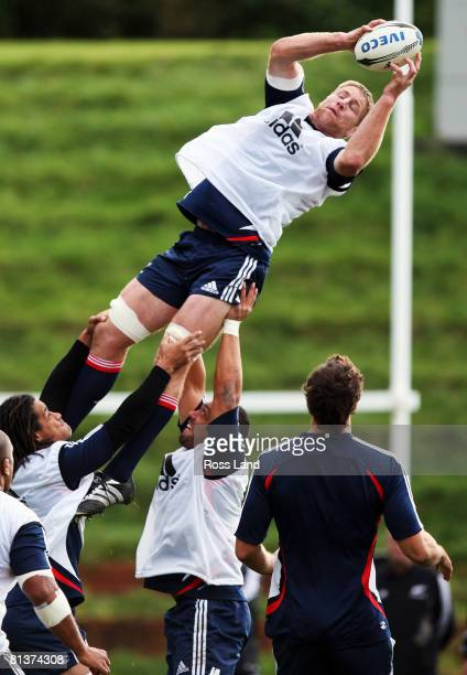 Brad Thorn is lifted in the lineout during a New Zealand All Blacks training session at Rugby League Park on June 3 2008 in Wellington New Zealand