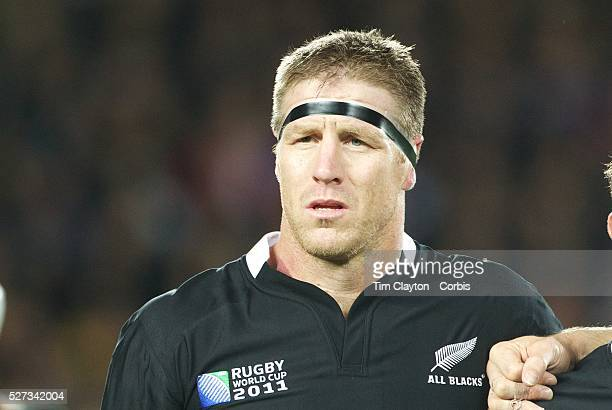 Brad Thorn New Zealand during the national anthems before the New Zealand V Australia Semi Final match at the IRB Rugby World Cup tournament Eden...