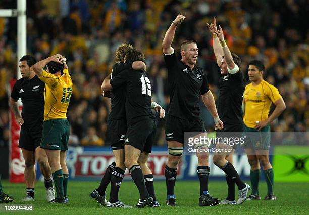 Brad Thorn of the All Blacks and team mates celebrate winning the 2010 TriNations Bledisloe Cup match between the Australian Wallabies and the New...