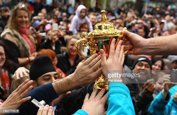 Brad Thorn of the All Blacks holds out the Webb Ellis Cup for the crowd to touch during the New Zealand All Blacks 2011 IRB Rugby World Cup...