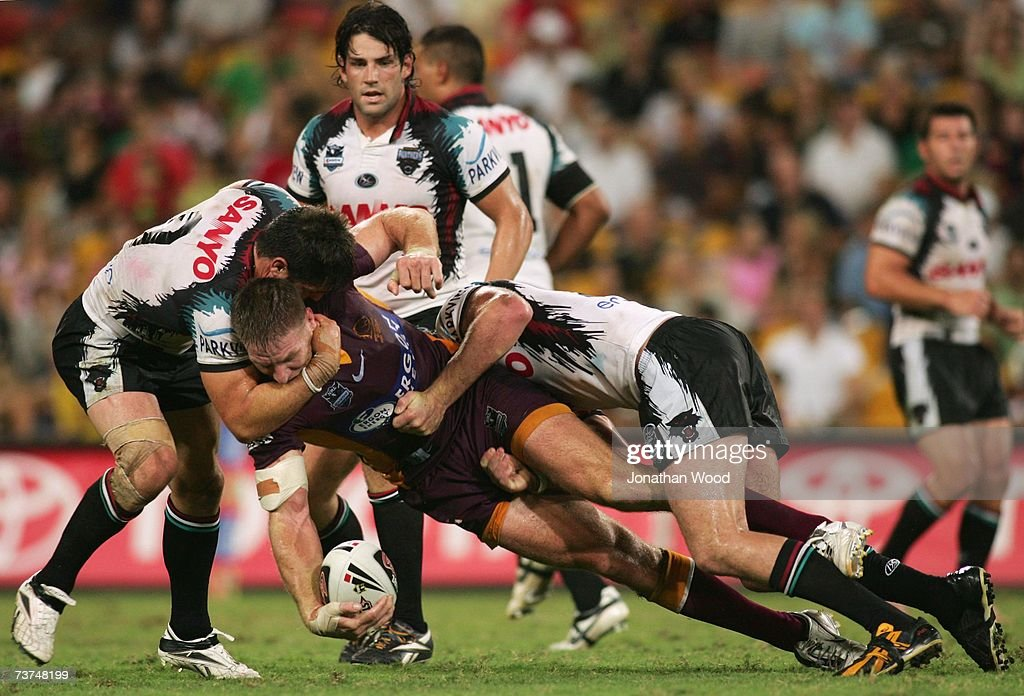 Brad Thorn of the Broncos is tackled during the round three NRL match between the Brisbane Broncos and the Penrith Panthers at Suncorp Stadium March 30, 2007 in Brisbane, Australia.