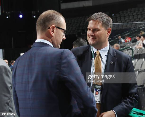 Brad Treliving and Jason Boterill attend the 2018 NHL Draft at American Airlines Center on June 23, 2018 in Dallas, Texas.