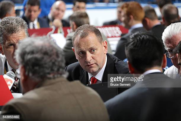 Brad Treliving of the Calgary Flames attends the 2016 NHL Draft on June 25 2016 in Buffalo New York