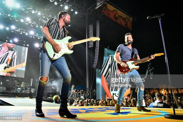 Brad Tursi and Matthew Ramsey of Old Dominion perform during 2019 Faster Horses Festival at Michigan International Speedway on July 20 2019 in...