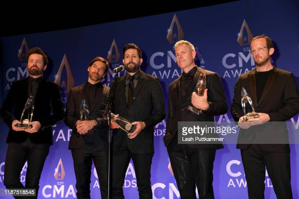 Brad Tursi Geoff Sprung Matthew Ramsey Trevor Rosen and Whit Sellers of Old Dominion speak at the press room of the 53rd annual CMA Awards at the...