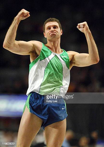Brad Walker celebrates after a clearance in the pole vault in the 100th Millrose Games at Madison Square Garden in New York City NY on Friday...