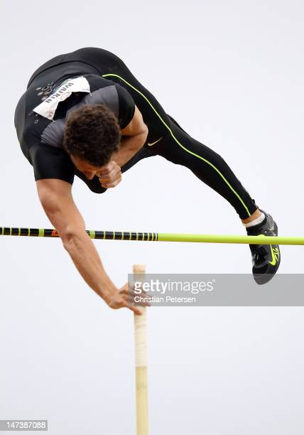 Brad Walker competes in the Men's Pole Vault Final on day seven of the US Olympic Track Field Team Trials at the Hayward Field on June 28 2012 in...