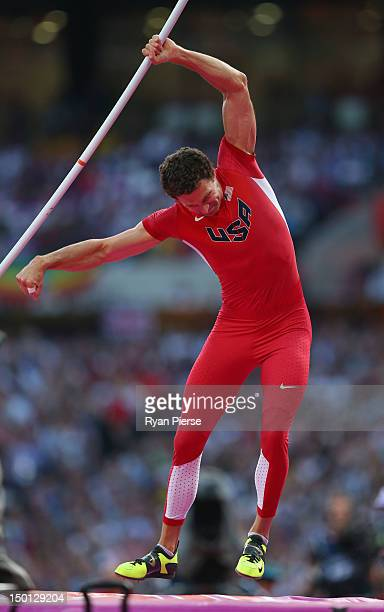Brad Walker of the United States competes during the Men's Pole Vault Final on Day 14 of the London 2012 Olympic Games at Olympic Stadium on August...