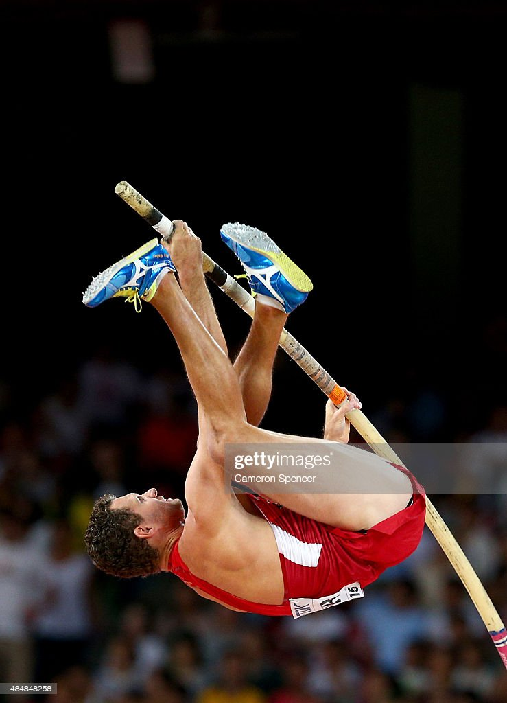 Brad Walker of the United States competes in the Men's Pole Vault qualification during day one of the 15th IAAF World Athletics Championships Beijing 2015 at Beijing National Stadium on August 22, 2015 in Beijing, China.
