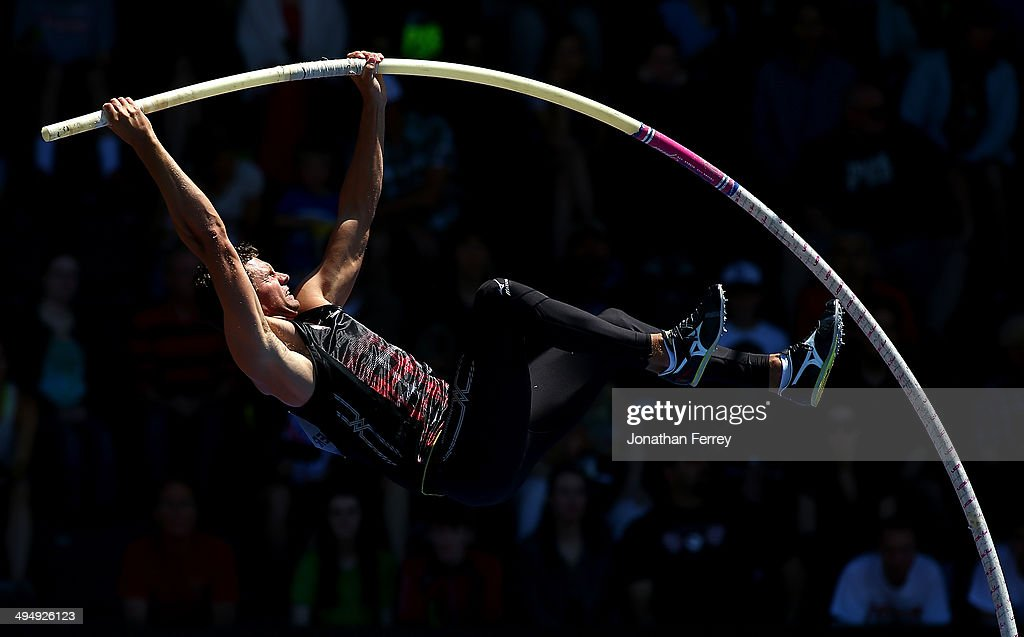 Brad Walker of the United States competes in the pole vault during day 2 of the IAAF Diamond League Nike Prefontaine Classic on May 31, 2014 at the Hayward Field in Eugene, Oregon.