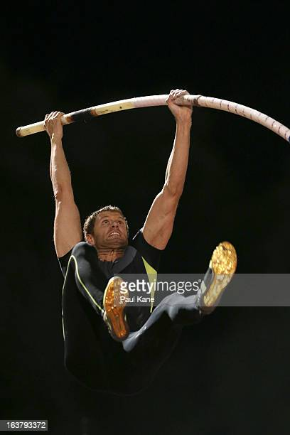 Brad Walker of the USA competes in the mens open pole vault during the Perth Track Classic at the WA Athletics Stadium on March 16 2013 in Perth...