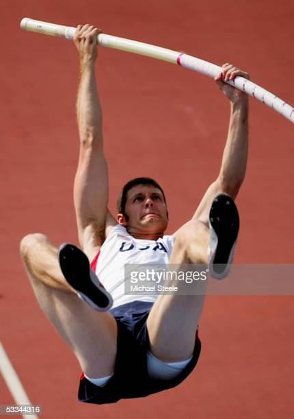 Brad Walker of USA competes during mens Pole Vault qualifier at the 10th IAAF World Athletics Championships on August 9 2005 in Helsinki Finland