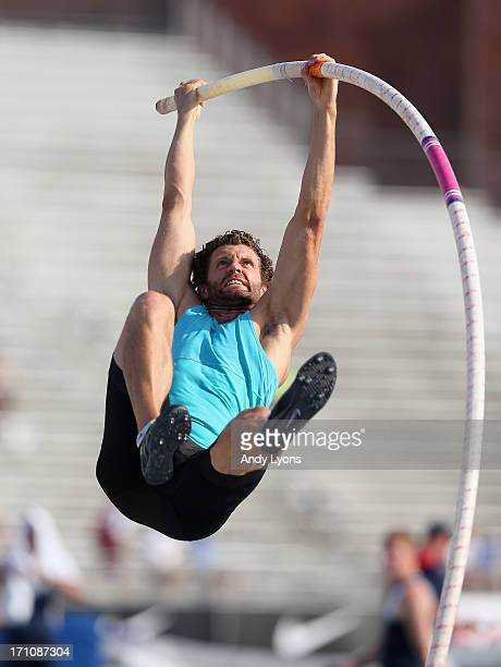 Brad Walker vaults to victory in the Mens' Pole Vault on day two of the 2013 USA Outdoor Track Field Championships at Drake Stadium on June 21 2013...