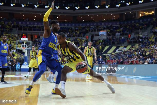Brad Wanamaker #11 of Fenerbahce Dogus in action with Deandre Kane #7 of Maccabi Fox Tel Aviv during the 2017/2018 Turkish Airlines EuroLeague...