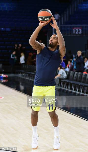 Brad Wanamaker #11 of Fenerbahce Dogus Istanbul warmsup prior to the 2017/2018 Turkish Airlines EuroLeague Regular Season Round 19 game between...
