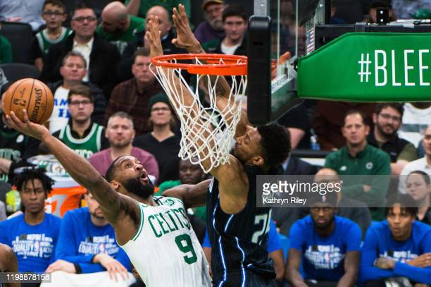 Brad Wanamaker of the Boston Celtics shoots against Khem Birch of the Orlando Magic in the second half at TD Garden on February 5, 2020 in Boston,...