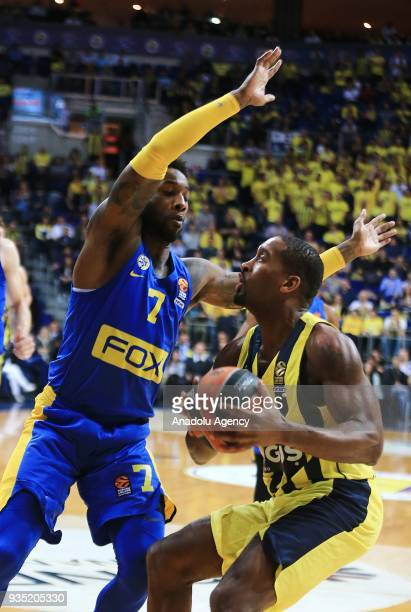 Brad Wannamaker of Fenerbahce Dogus in action against Deandre Kane of Maccabi Fox during the Turkish Airlines Euroleague week 27 basketball match...