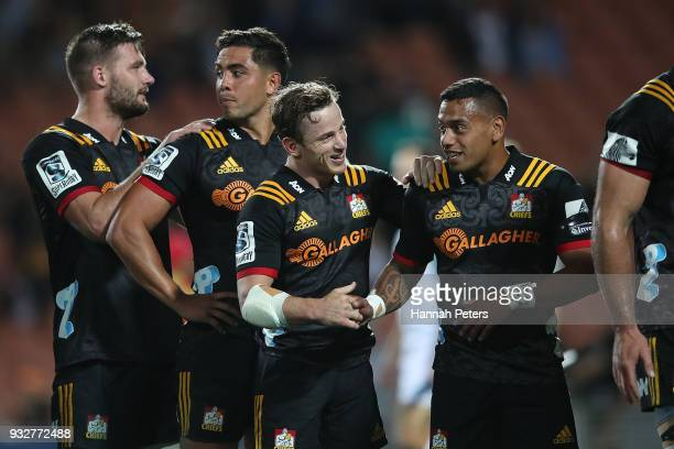 Brad Weber and Te Toiroa Tahuriorangi of the Chiefs celebrate after winning the round five Super Rugby match between the Chiefs and the Bulls at...