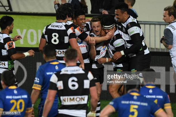 Brad Weber of Hawke's Bay celebrates a try during the round three Mitre 10 Cup match between Hawke's Bay and Otago at McLean Park on August 22 2019...
