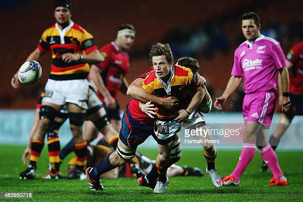 Brad Weber of Waikato passes the ball out during the round one ITM Cup match between Waikato and Tasman at Waikato Stadium on August 14 2015 in...