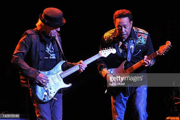 Brad Whitford and Byron 'Showman' Bordeaux performing during the Jimi Hendrix Experience 2012 at the Pikes Peak Center in Colorado Springs Colorado...