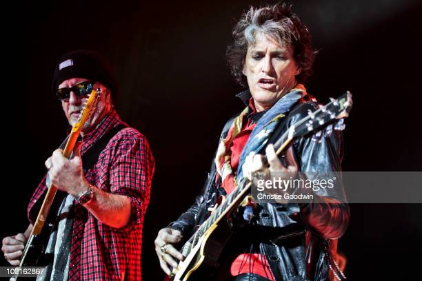 Brad Whitford and Joe Perry of Aerosmith perform on stage at O2 Arena on June 15 2010 in London England