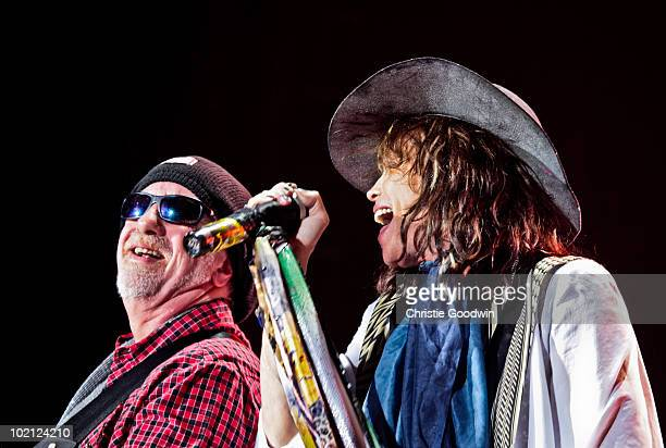 Brad Whitford and Steven Tyler of Aerosmith performs on stage at O2 Arena on June 15 2010 in London England