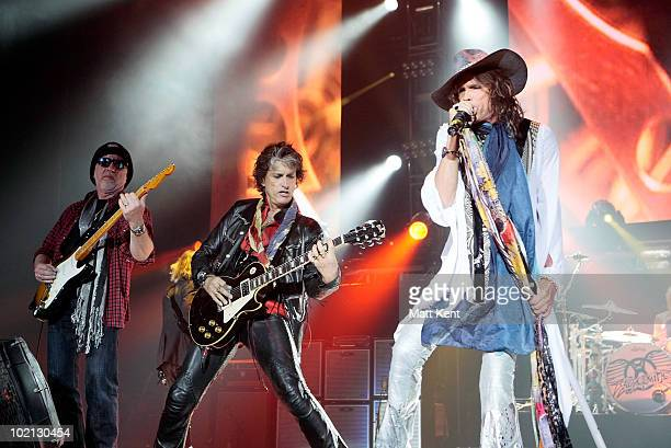 Brad Whitford Joe Perry and Steven Tyler of Aerosmith perform at 02 Arena on June 15 2010 in London England