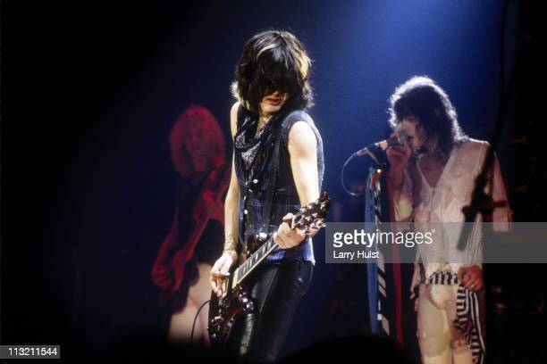 Brad Whitford Joe Perry and Steven Tyler of Aerosmith performs at the Los Angeles Coliseum in Los Angeles California on April 8 1979