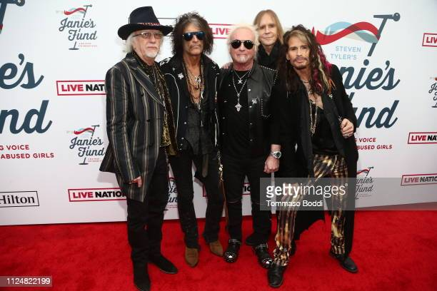 Brad Whitford Joe Perry Joey Kramer Tom Hamilton and Steven Tyler of Aerosmith attend Steven Tyler's Second Annual GRAMMY Awards Viewing Party to...