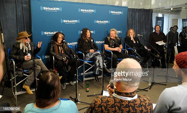 Brad Whitford Joe Perry Steven Tyler Joey Kramer and Tom Hamilton attend SiriusXM's Town Hall With Aerosmith live on Classic Vinyl at SiriusXM...