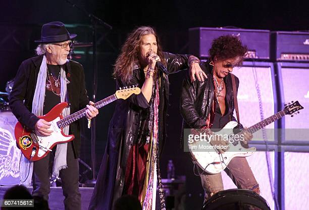 Brad Whitford Steven Tyler and Joe Perry of Aerosmith perform during the KAABOO Del Mar music festival on September 17 2016 in Del Mar California