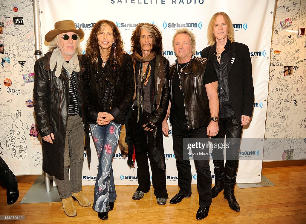 Brad Whitford, Steven Tyler, Joe Perry, Joey Kramer and Tom Hamilton attend 'SiriusXM's Town Hall With Aerosmith' live on Classic Vinyl at SiriusXM Studios on November 2, 2012 in New York City.