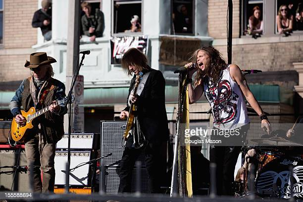 Brad Whitford, Tom Hamilton and Steven Tyler of Aerosmith attends the celebration of the release of their new album 'Music from Another Dimension!'...