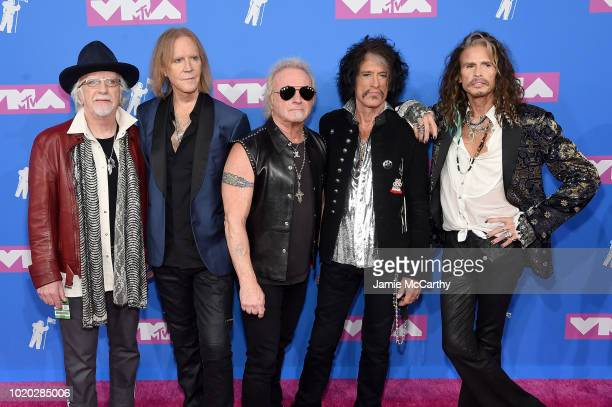 Brad Whitford Tom Hamilton Joey Kramer Joe Perry and Steven Tyler of Aerosmith attend the 2018 MTV Video Music Awards at Radio City Music Hall on...