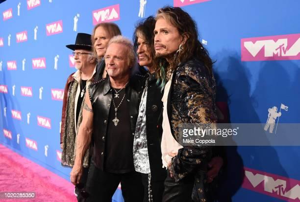 Brad Whitford Tom Hamilton Joey Kramer Joe Perry and Steven Tyler of Aerosmith attend the 2018 MTV Video Music Awards at Radio City Music Hall on...