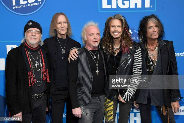 Brad Whitford Tom Hamilton Joey Kramer Steven Tyler and Joe Perry of Aerosmith attend Day 2 of Bud Light Super Bowl Music Fest at State Farm Arena on...